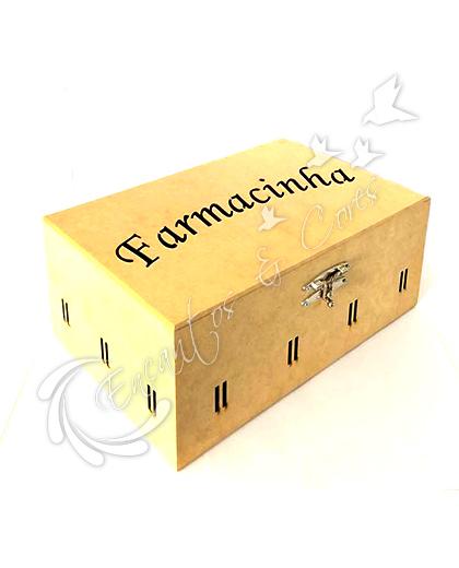 CAIXA EM MDF FARMACINHA COM PASSA FITA E COM FECHO PRATA