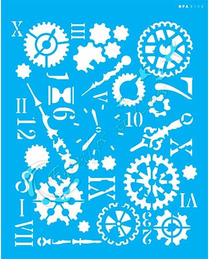 STENCIL 20X25 OPA 3115 STEAMPUNK ART ENGRENAGENS