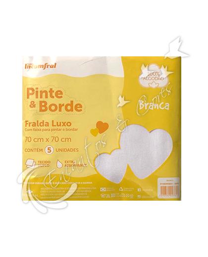 FRALDA INCOMFRAL LUXO PINTE E BORDE C/5 BRANCA