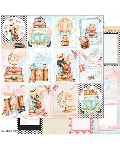 PAPEL SCRAPBOOK LITOARTE DUPLA FACE SD-1137 VIAGEM CARDS- POSTAIS FOTOS