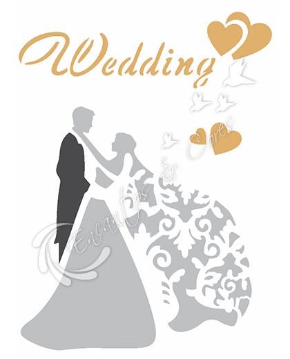 STENCIL 15X20 CASAL WEDDING OPA 2344
