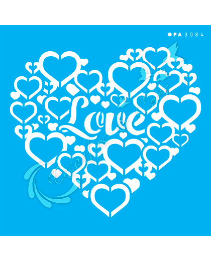 STENCIL 14X14 OPA 3084 CORAÇÃO LOVE