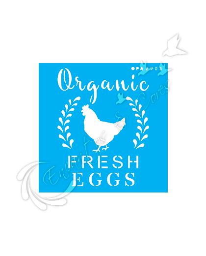 STENCIL OPA FRASE FARMHOUSE ORGANIC FRESH EGGS (OPA 2903)